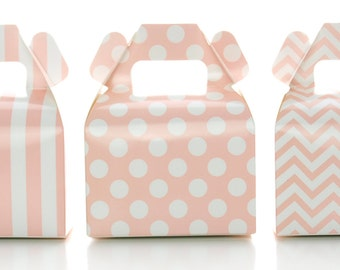 Candy Boxes, Light Pink Design Trio Party Favors (36 Pack) - Small Wedding Gift Boxes, Pink Girl Baby Shower Decorations, Treat Box Supplies
