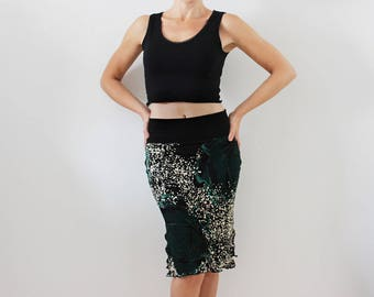 Pencil skirt with slits of viscose jersey, tango, salsa dance skirt, latin party milonga party wear