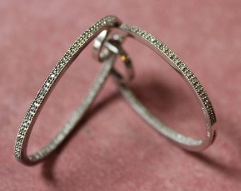 Diamond and Sterling Silver Hoop Earrings/Diamond Hoop Earrings/Sterling Silver and Diamond Earrings