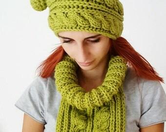 Green neck warmer beanie set/knit hat- neck warmer/
