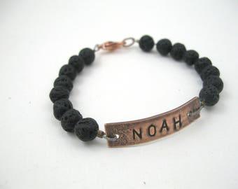 Mens bracelet personalized boys bracelet, engraved bracelet, power word lava bracelet, little boys bracelet, personalized boys