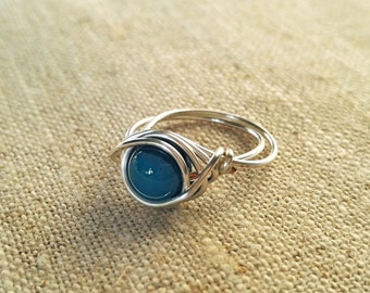 Beautiful Blues Agate Silver Wire Wrapped Ring - sized to order
