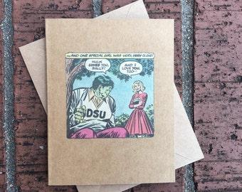 Vintage Incredible HULK loves Sally Comic Book Greeting Card (Blank)