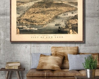 """1856 New York City bird's eye view map reprint, Vintage NYC map reprint - 5 sizes up to 22""""x28"""" - home/office decor"""