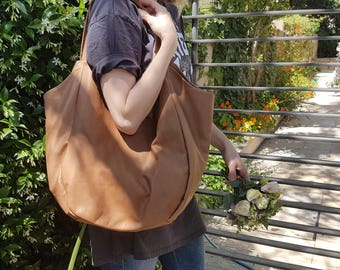 Large Leather hobo Bag, Brown Large hobo - Leather hobo Large