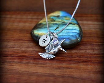Hummingbird necklace, Sterling silver bird necklace, Initial necklace