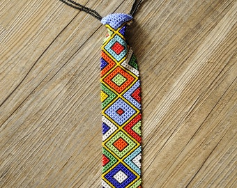 30% off! Beaded African Neck tie,Traditional South African Beadwork,African fashion,African accessories,Geometric tie,Beaded African tie
