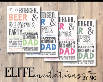 Burger, Beer and Diaper Party, New Dad Invitation, Dad Shower Invitation, Baby Boy, Baby Girl, Baby Neutral Shower Invitation