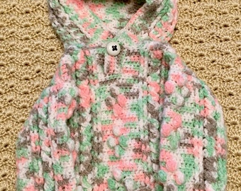 Camo crocheted, vintage-inspired  fisherman cable baby sweater