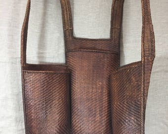 Vintage Indonesian 1940's woven backpack