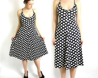 Vintage 90's Marimekko Black White Polka Dot A -Line Midi Dress - Medium