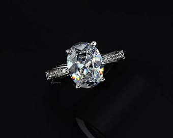 Oval Cut Engagement Ring - Cubic Zirconia Engagement Ring - 5 ct Ring - Promise Ring - Wedding Ring - CZ - Vintage Engagement Ring - AR0004