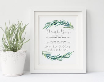Printable wedding donation sign, Wedding in Lieu of Traditional Favors, Thank you donation sign, Eucalyptus leaves, The Jackie collection