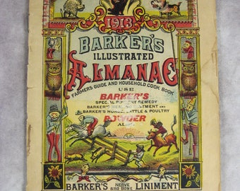 1913 Barker's Illustrated ALMANAC - Farmers Almanac - Planting - Weather predictions - Timely Cartoons
