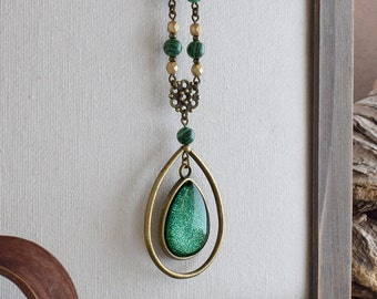 Statement green necklace, Green jewelry gift, Large teardrop pendant necklace, Sparkling green drop necklace Shimmering green pendant SJ 067