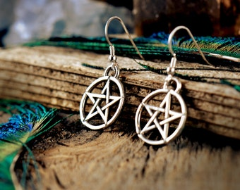 Pentacle Charm Earrings ~ Sterling Silver ~ Pentagram Star ~ Wicca Witch Pagan Priestess