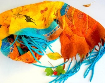 Silk wool scarf Mother gift Hand painted scarf Nunofelting shawl Women wrap Tribal art Yellow shawl unique scarves art to wear with tassels