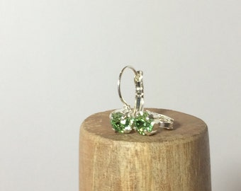 Silver Peridot Earrings ~ Swarovski Crystal Solitaire Earrings ~ Swarovski Crystal Peridot Earrings ~ Silver, Gold, Rose Gold Plated