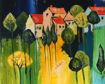 Landscape green/yellow - acrylic on canvas - 80 x 80 cm