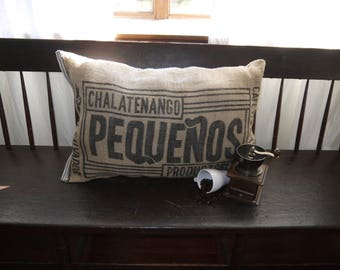Handmade Coffee Sack Pillow, Throw Pillow, Decorative, Comfortable, Upcycled, Homemade, Repurposed, Coffee Lovers Rejoice! Grain sack Pillow
