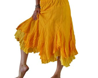 2 LAYER SKIRT - Zootzu Renaissance Festival Costume Skirt Belly Dancer Skirt Gypsy Skirt Pirate Skirt Steampunk Skirt Layered Skirt - Yellow