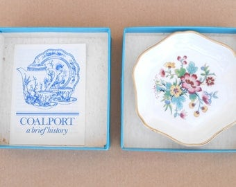 Coalport 'Ming Rose' Trinket Dish with Box - Floral Design Pin Dish, Ring Dish - Vintage English Bone China Porcelain Dish - Made in England