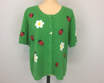 90s Kelly Green Sweater Womens Daisy Clothing Womens Cardigans Short Sleeve 1990s Clothing Lady Bugs Spring Sweater Large XL Womens Clothing
