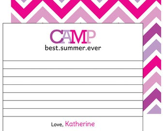 Girl Summer Camp Notecards, Personalized Camp Stationery, Sleepaway Camp Note and Envelope Set, Custom Printed Camp Notecards for Girls