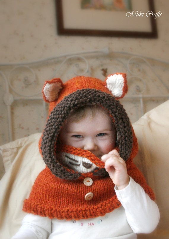 Sale! Knit fox hood cowl Rene - PDF knitting pattern - in baby, toddler, child and adult sizes