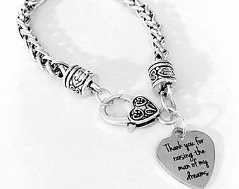 Mother Of The Groom Gift, Charm Bracelet, Thank You For Raising The Man Of My Dreams Wedding Gift Charm Bracelet
