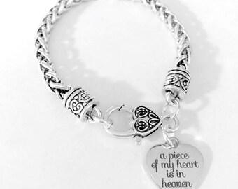 Angel Bracelet, A Piece Of My Heart Is In Heaven Charm Bracelet, Memorial Gift Angel Sympathy Gift Charm Bracelet