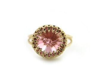 Rose Quartz Swarovski Ring, Pink Swarovski Ring, Gold ring, Pink Crystal Ring, Pink Crystal Ring, Bridesmaid Gift, Pink Ring, For Her