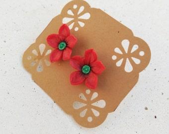 Bridesmaid red earrings: Bridesmaid proposal gift - Mini flower earrings - Girls flower studs - Cherry blossom earrings - Sakura earrings