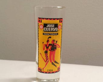 Jose Cuervo Primo Tequila 1994 tall Shot Glass, vintage alcohol advertising glass