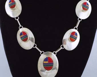 """Long Vintage Sterling Silver Red Mosaic Inlay Southwestern Necklace - 18 1/2 """""""