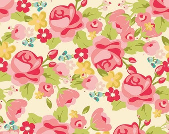 Riley Blake Hello Gorgeous C5690 Main Cream, Pink & Red Floral Quilt Fabric, My Minds Eye, Cotton