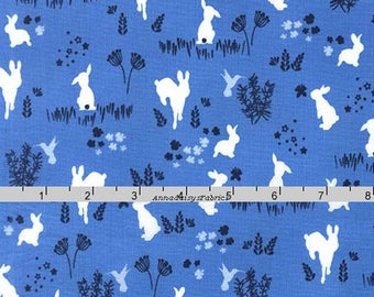 Blue Rabbit Fabric, Bunny Quilt Fabric, Michael Miller DC 7303 Frolic, Violet Craft, Rabbit Quilt Fabric, Blue Bunny Fabric, Cotton