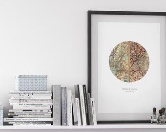 Personalized Map Art, Engagement Gift, Unique Wedding Gift, For Couples, Anniversary, Map Heart Circle Print sale