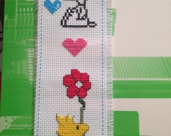 """Handmade New Completed Finished Cross Stitch Bookmark Dog Peanuts """"SNOOPY & WOODSTOCK"""" Free US Shipping"""