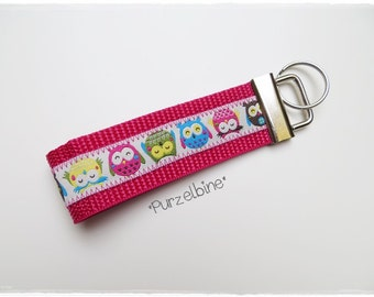 Keychains - colorful owls - pink