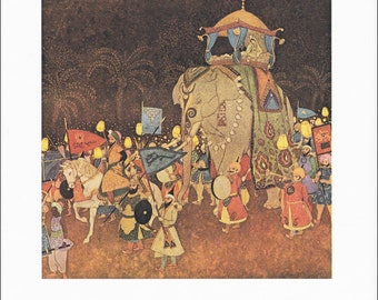 Arabian Nights vintage art nouveau print illustration folk tale fairy tale Elephant marriage procession Princess Edmund Dulac 8.5x11.5 in