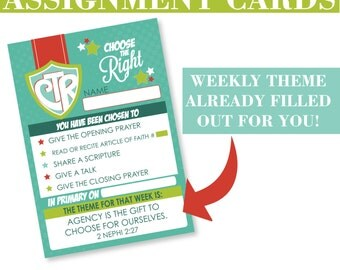 2017 LDS Primary Sharing Time Assignment Cards - Choose the Right - Weekly Theme Added - SALE!!!