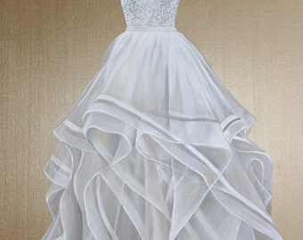 MADE TO ORDER -  Custom Wedding Dress Painting - Choose a Size! Free Shipping!