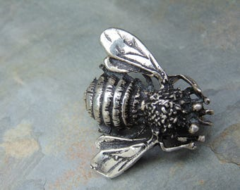D'Molina ~ Mexican Sterling Silver Detailed Bee / Fly Pin / Brooch