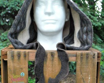 Recycled Sweater Hood, Scoodie, Winter Hat, Pixie Hood, Elf Hood, Cosplay, Recycled Wool, Organic Clothes, Mens Hood, Hippie, Boho, Eco