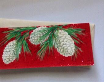 Vintage Hallmark flocked Christmas card unused+env