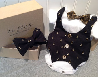 Black and gold anchor vest onesie with option of adding matching adult bow tie