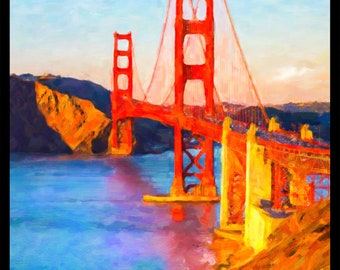 Golden Gate Bridge Poster - San Francisco Poster - California Print - San Francisco Wall Art Home Decor #vi689