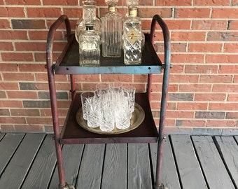 Vintage Rolling Cart Two Tier Repurposed Bar Cart Industrial Decor Red Paint Rustic
