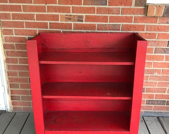 Vintage Primitive Wood Book Shelf Stand 3 Shelves Red Paint Primitive Decor Rustic
